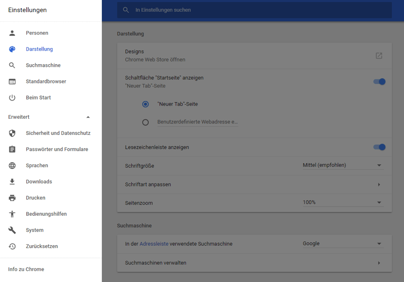 Das neuen Design der Einstellungen in Chrome 59